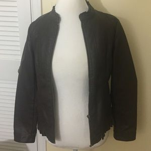 Brown Faux Leather Jacket Sz Small